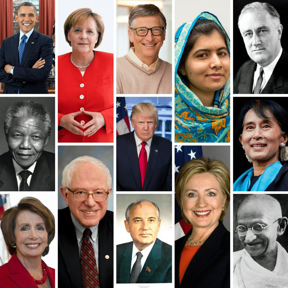 Montage of famous leaders like Obama and Trump