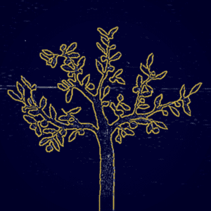 Blue background, golden tree