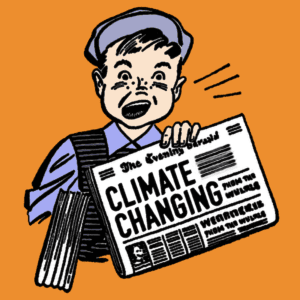 "line drawing of old-fashioned looking boy holding newspaper that says ""climate changing"""