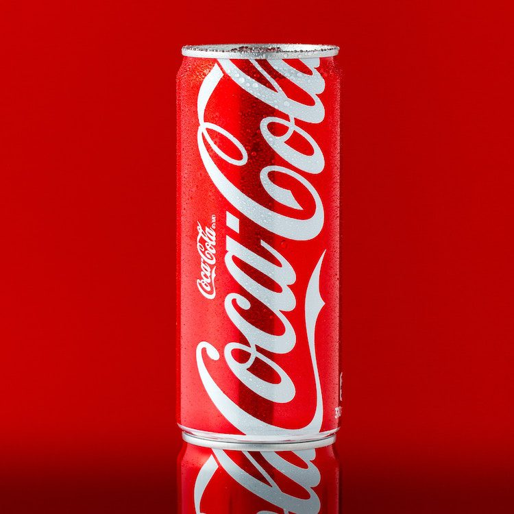 coke can, red background