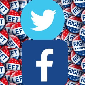 Left and right political buttons. Facebook and Twitter logos.