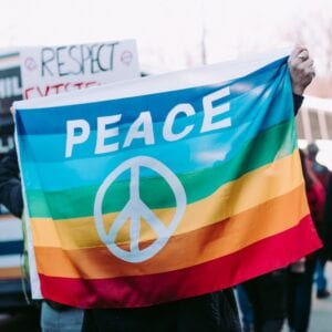 Peace sign on a flag